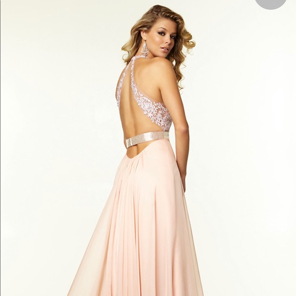 ec135ef345a25 PromGirl Dresses   Long Vneck Lace Prom Gown Blush Pink   Poshmark